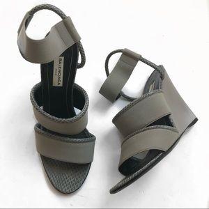 Balenciaga size 37.5 gray elastic wedge heel
